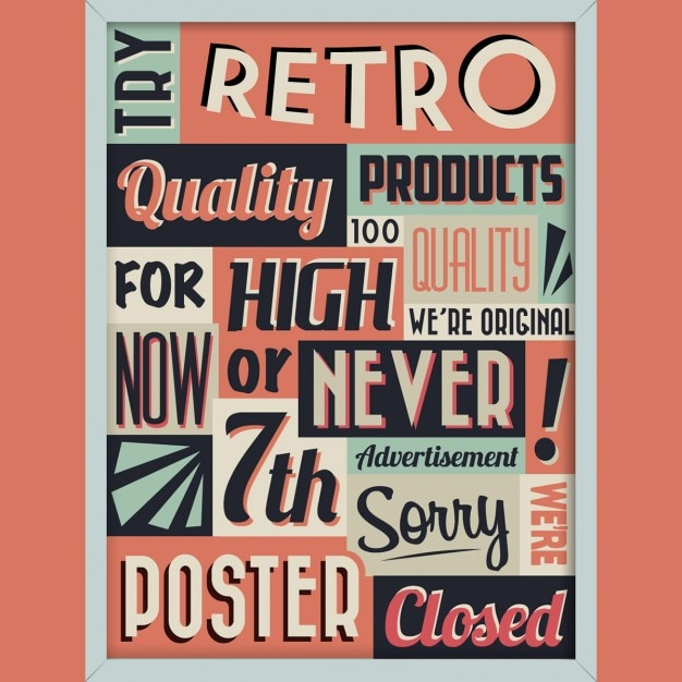 poster with words in vintage style free vector