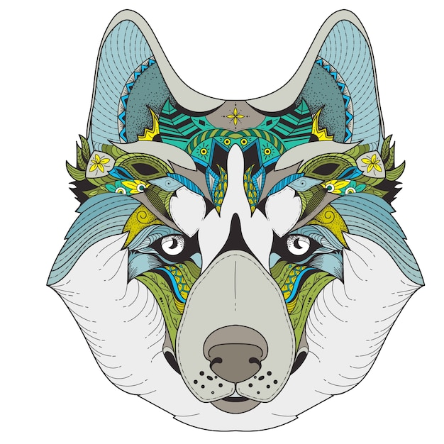 Poster with zenart patterned husky Free Vector