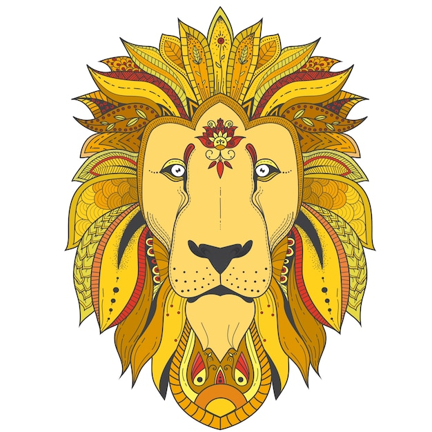 Poster with zenart patterned lion Free Vector