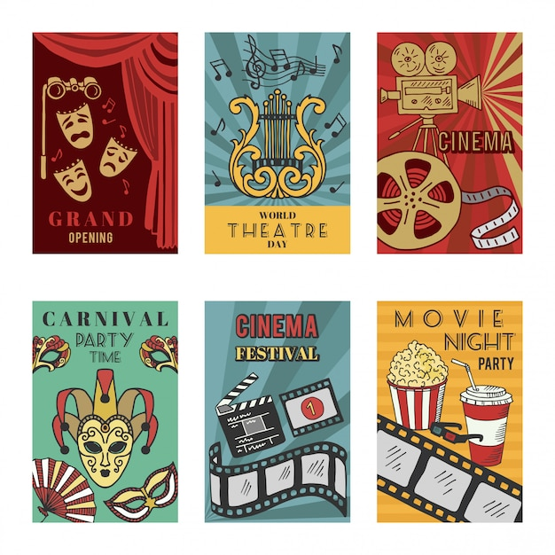 Posters design set with theatre and cinema symbols. vector illustrations isolate Premium Vector