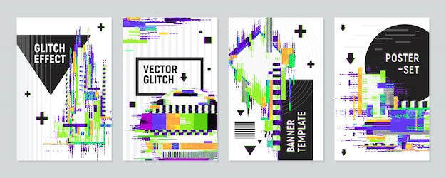 Posters set with glitch effect Free Vector