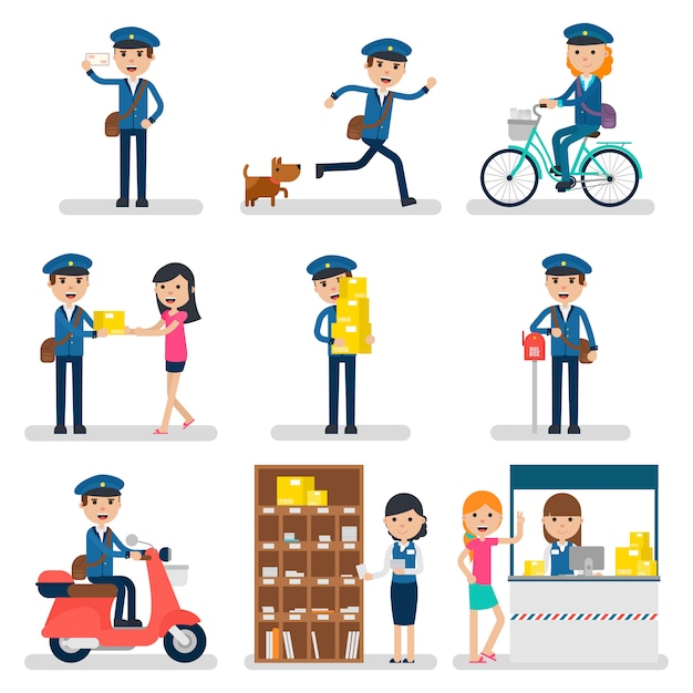 Postman character collection Free Vector