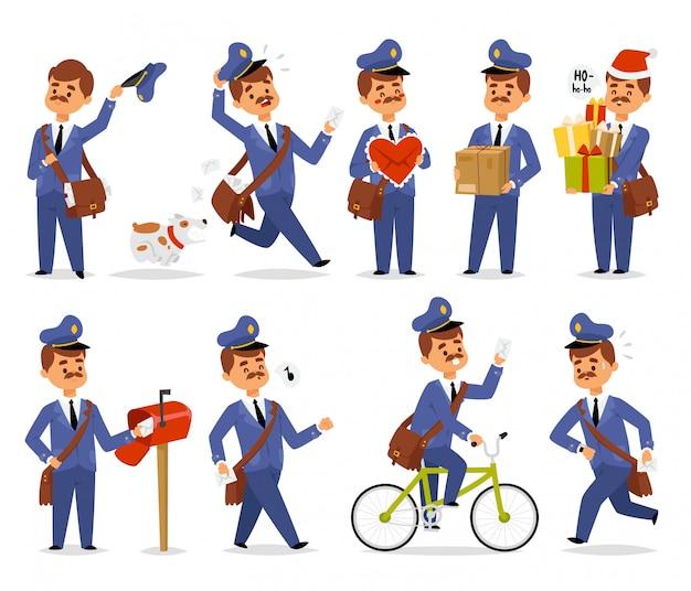 Postman character vector set. Premium Vector