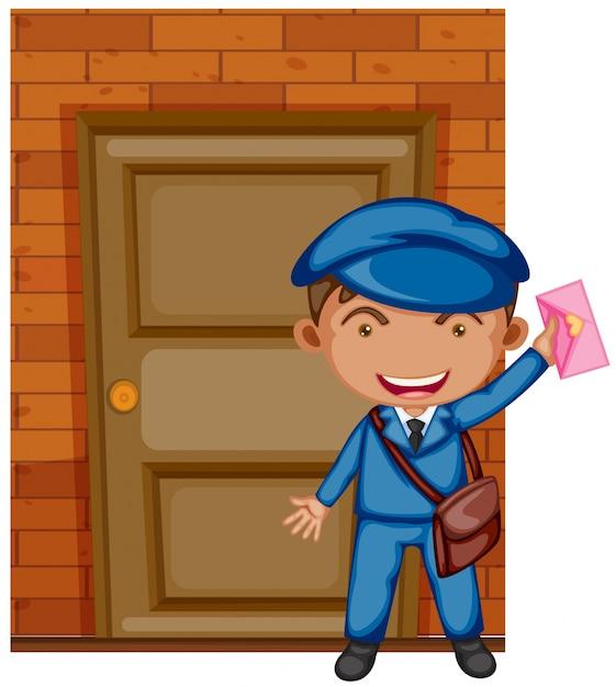 Postman delivering letter at the door Free Vector
