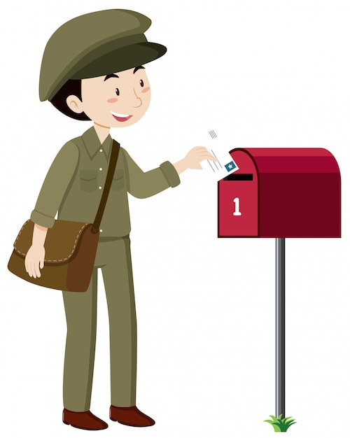 A postman delivery mail Premium Vector