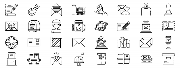 Postman icons set, outline style Premium Vector