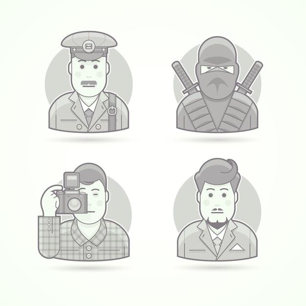郵便屋さん、忍者の戦士、写真家、ビジネスの男性のアイコン。キャラクターポートレートイラストのセットです。黒と白のアウトラインスタイル。 Premiumベクター