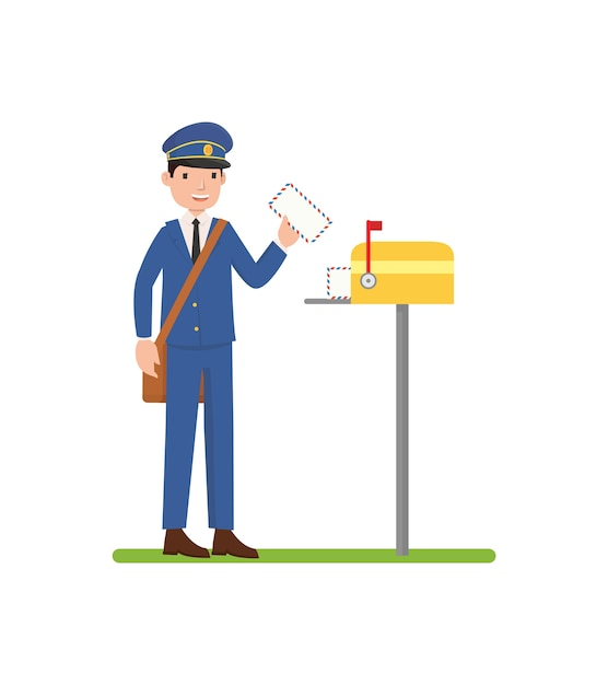 A postman put in the letter to the mailbox Premium Vector