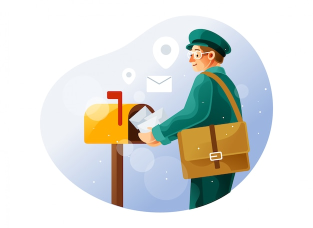 Postman puts the letter in the mailbox Premium Vector