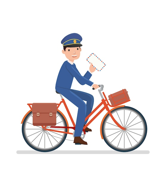 A postman riding bicycle to send a letter Premium Vector