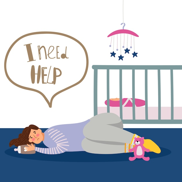 Postnatal depression illustration Premium Vector