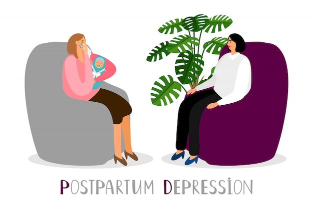 Postpartum depression. crying mother with newborn. psychoterapy for new parents concept Premium Vector