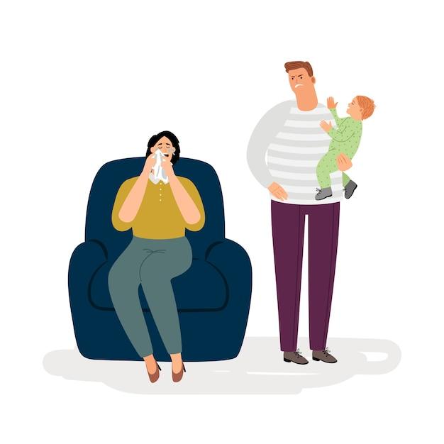 Postpartum depression illustration concept Premium Vector