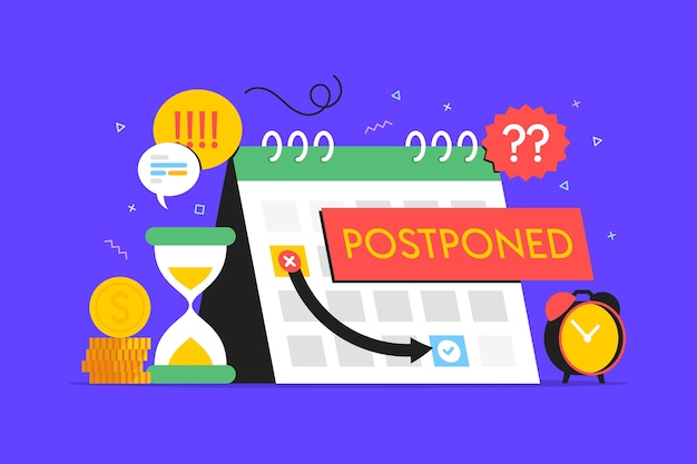 Postponed concept in flat design Free Vector