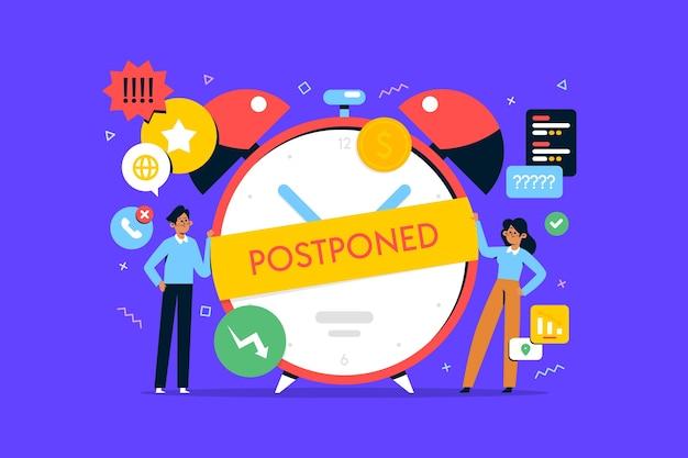 Postponed concept in flat design Free Vector
