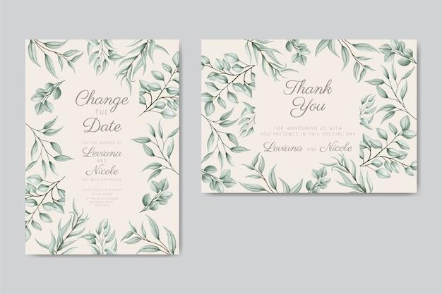 延期された花の結婚式の招待カード Premiumベクター