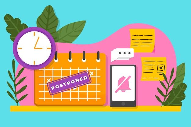 Postponed illustration concept Free Vector