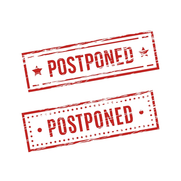 Postponed red stamp style Free Vector