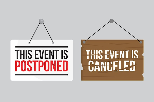 Postponed sign collection concept Free Vector