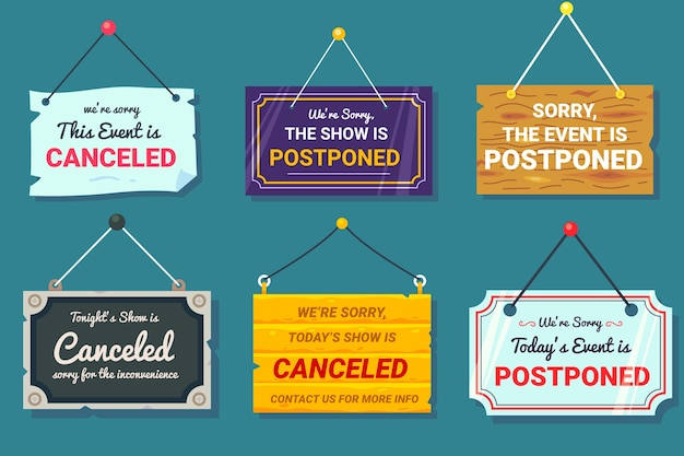 Postponed sign collection Free Vector