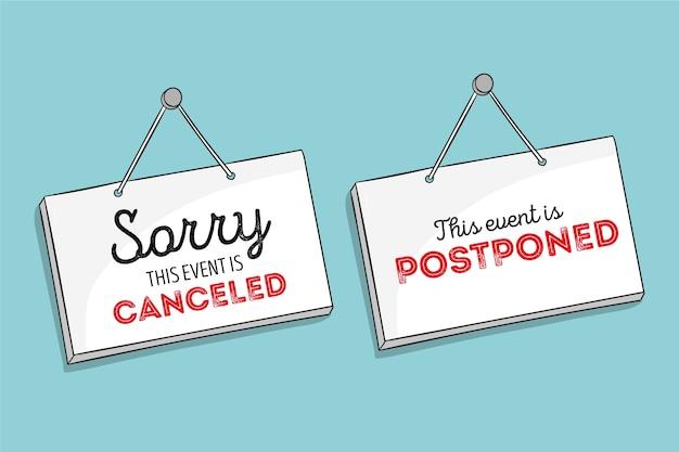 Postponed sign concept Premium Vector