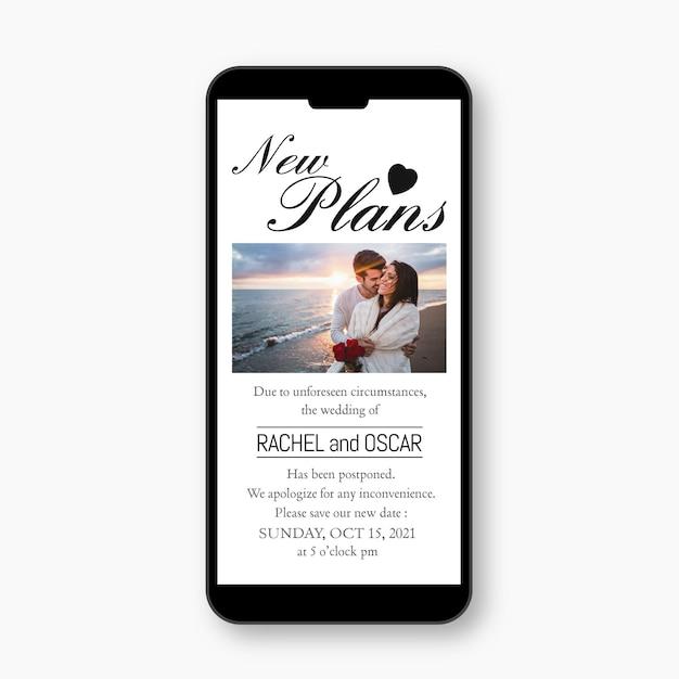 Отложено свадебное объявление о дизайне мобильного формата Бесплатные векторы