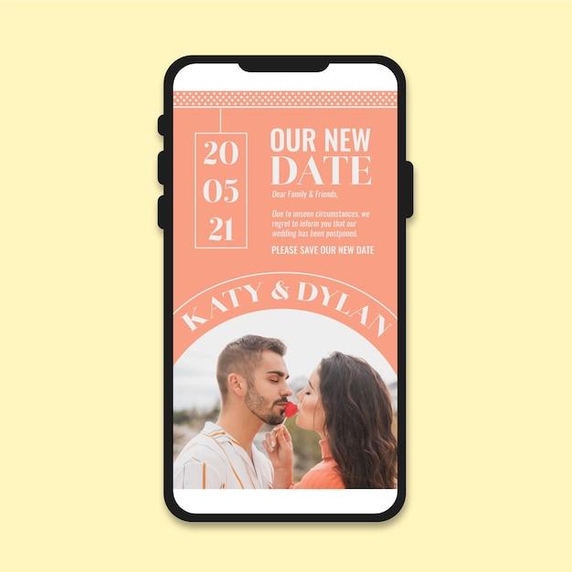 Отложенное свадебное объявление на мобильный Бесплатные векторы