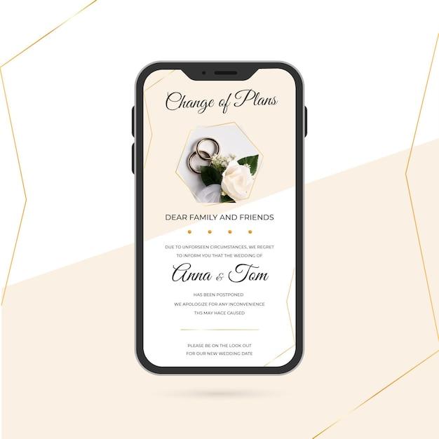 Postponed wedding announcement for mobile phones Free Vector