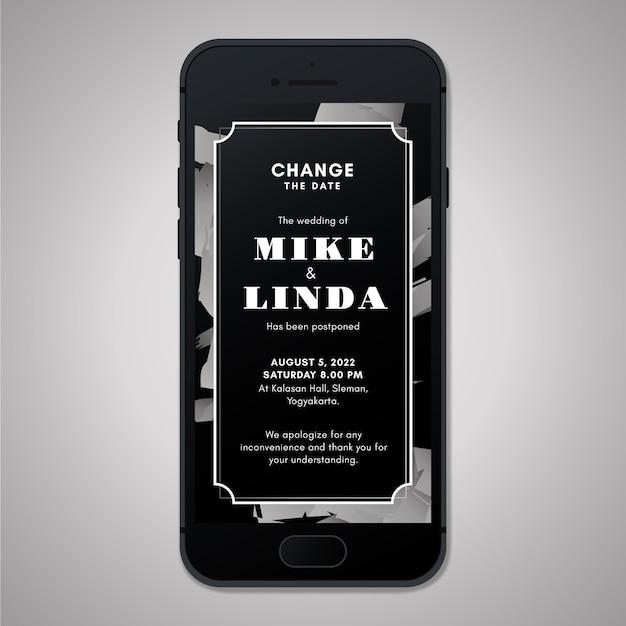 Отложенное свадебное объявление в формате экрана смартфона Бесплатные векторы