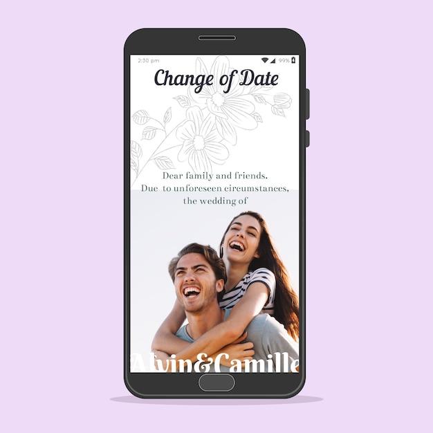 Отложено свадебное объявление о концепции смартфона Бесплатные векторы