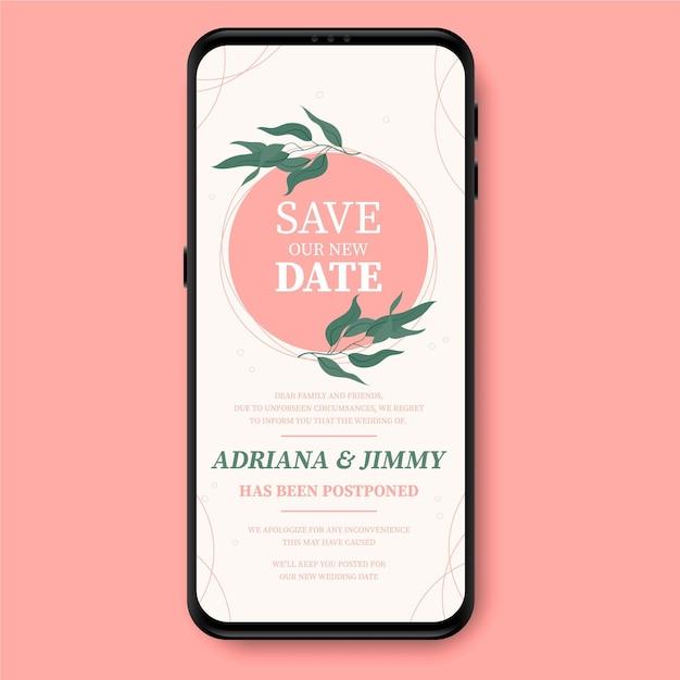 Postponed wedding announcement smartphone screen format Free Vector