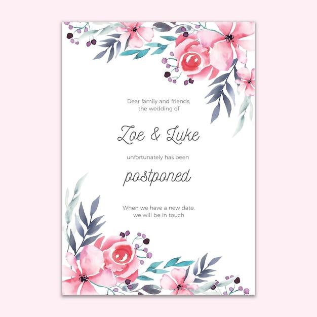 Отложенная свадебная открытка с цветочным дизайном Бесплатные векторы
