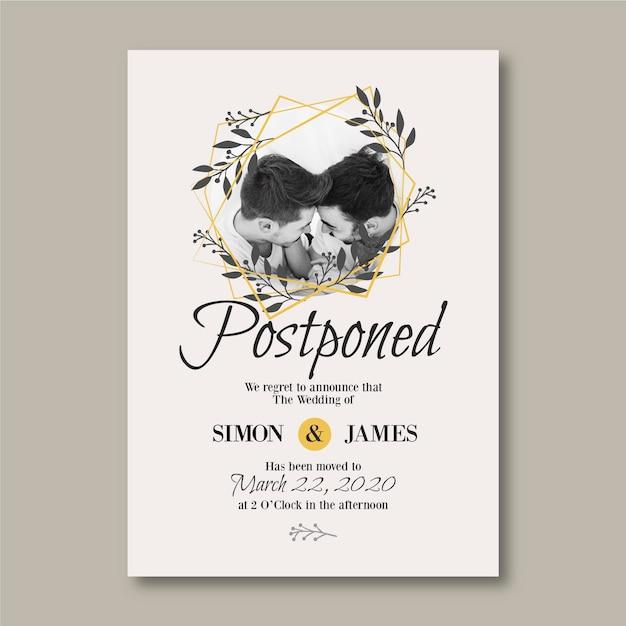 Отложенный шаблон свадебной открытки с фото Бесплатные векторы