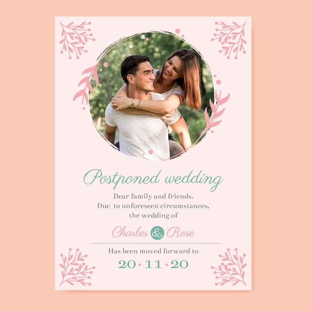 Postponed wedding card template Free Vector