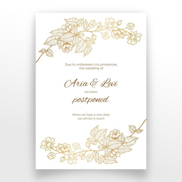 Отложенная свадебная открытка с золотыми цветами Premium векторы
