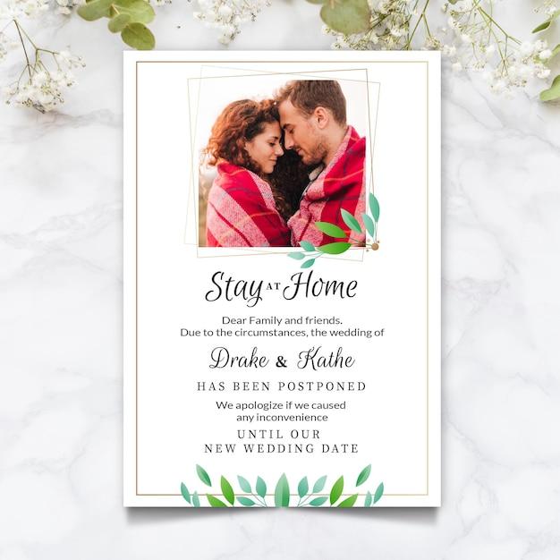 Отложенная свадебная открытка с фото Бесплатные векторы
