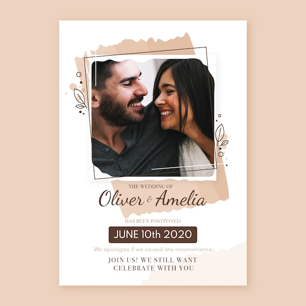 Postponed wedding card with photo Free Vector