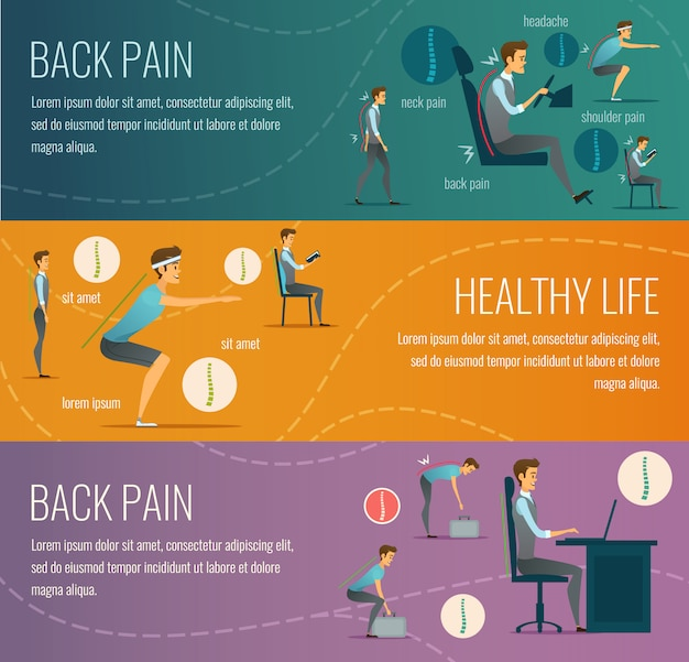 Posture flat horizontal banners with advertising healthy life Free Vector