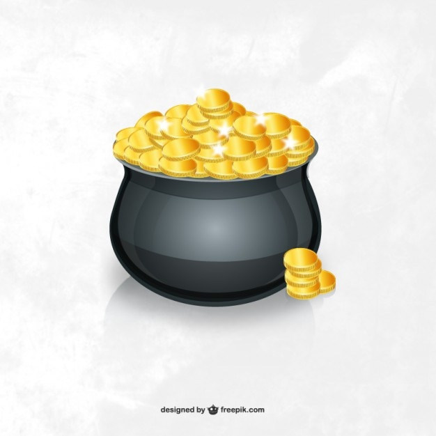 Pot of gold coins Free Vector