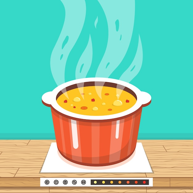 Pot on stove with steam Premium Vector