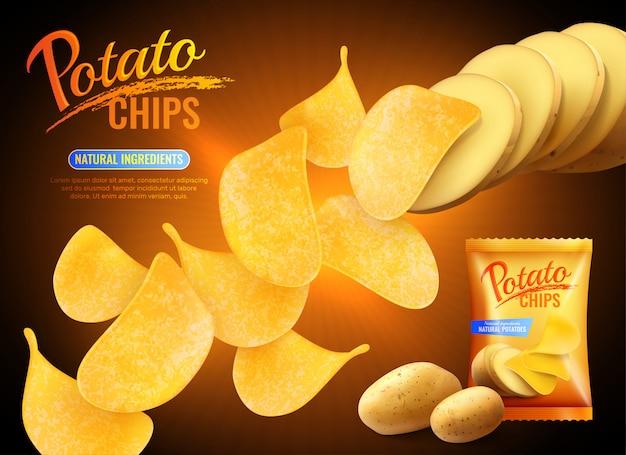 Рекламная композиция с картофельными чипсами с реалистичными изображениями чипсов, натурального картофеля и пачки Бесплатные векторы