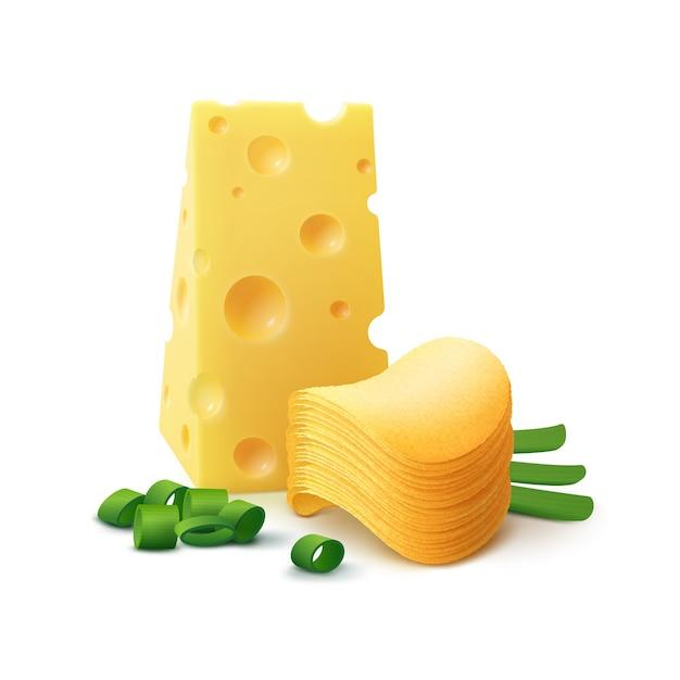 Картофельные чипсы с сыром и луком крупным планом Premium векторы