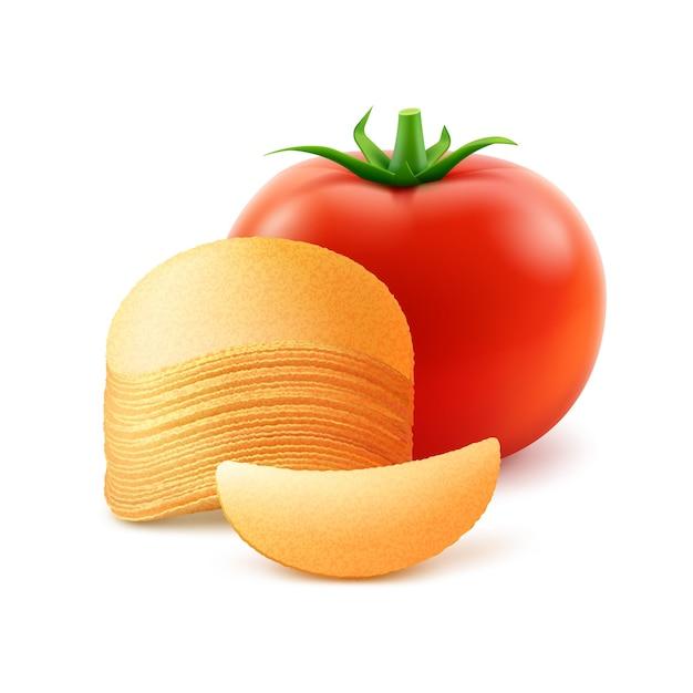 Стек картофельные хрустящие чипсы с красным помидором крупным планом, изолированные на белом фоне Premium векторы