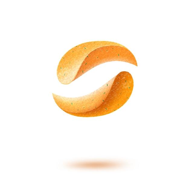 Картофельные хрустящие чипсы крупным планом изолированные Premium векторы