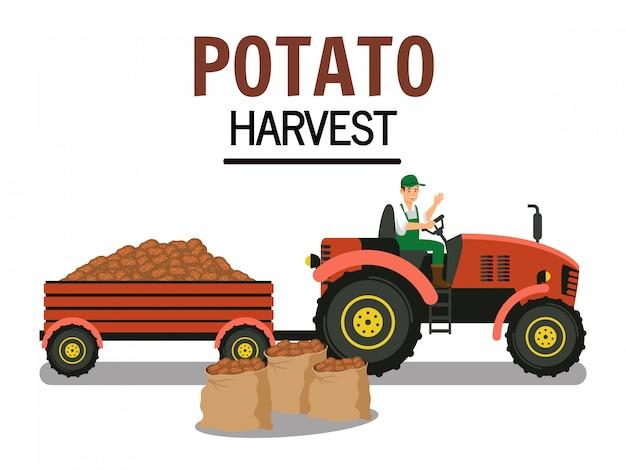 Premium Vector   Potato harvest in trolley vector illustration