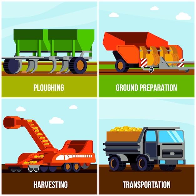 Плоская концепция производства картофеля с вспашкой, сбор урожая и транспортировка изолированы Бесплатные векторы