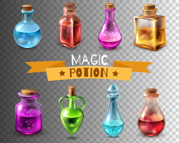 Potion flasks transparent collection Free Vector