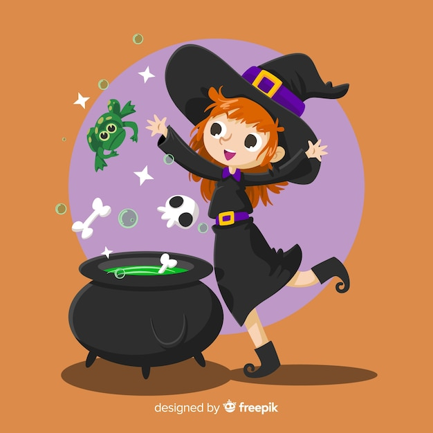 Potion halloween background Free Vector