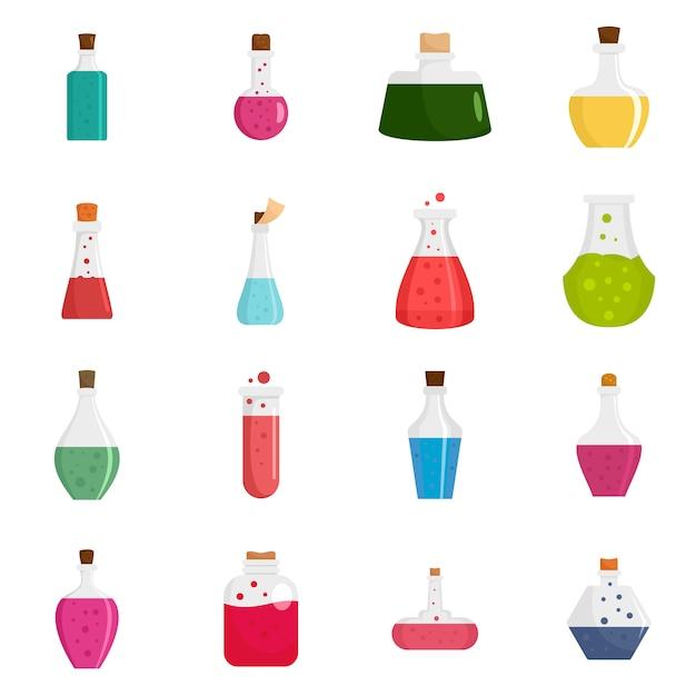 Potion magic bottle icons set Premium Vector