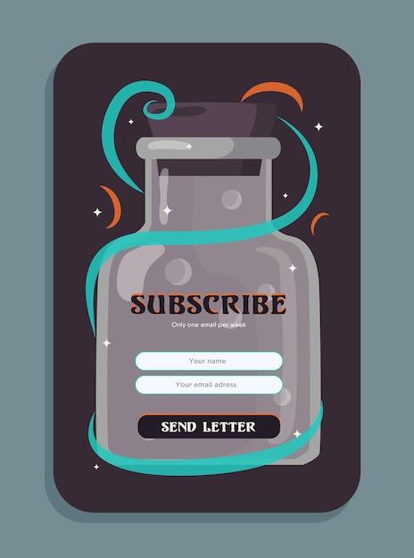 포션 뉴스 레터 디자인. 편지 보내기 버튼, 이름 및 이메일 주소 상자가있는 요술 음료 삽화가있는 병 무료 벡터